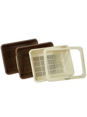 Jumbo/Maxi Tray Set - Beige/Brown 4 piece