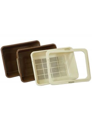 Jumbo/Maxi Tray Set - Beige/Brown 4 piece